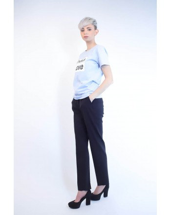 PINKO - Cotton T-Shirt SPONTANEO - Light Blue