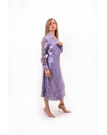 PINKO - Pithon Patterned Twill Dress AMALIA - Lilac/Violet