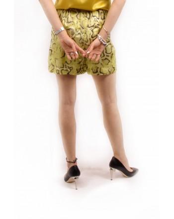 PINKO - Python Printed Viscose Shorts GISELLA- Yellow /Brown