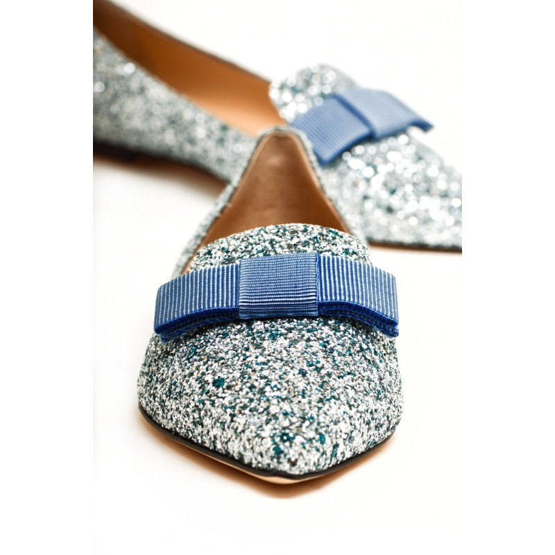 JIMMY CHOO -  Leather Glitter Flats  GALA - Denim Mix