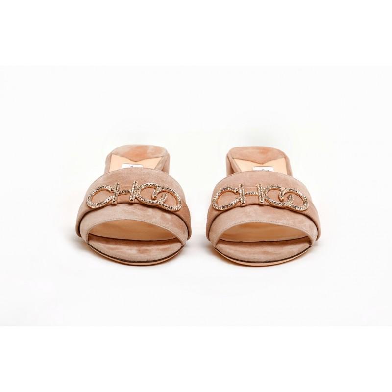 JIMMY CHOO - Suede Mules with Rhinestones Logo - Ballet Pink