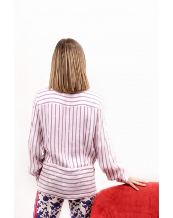PINKO - COLTO viscose blouse  - Bianco/cobalto/rosso
