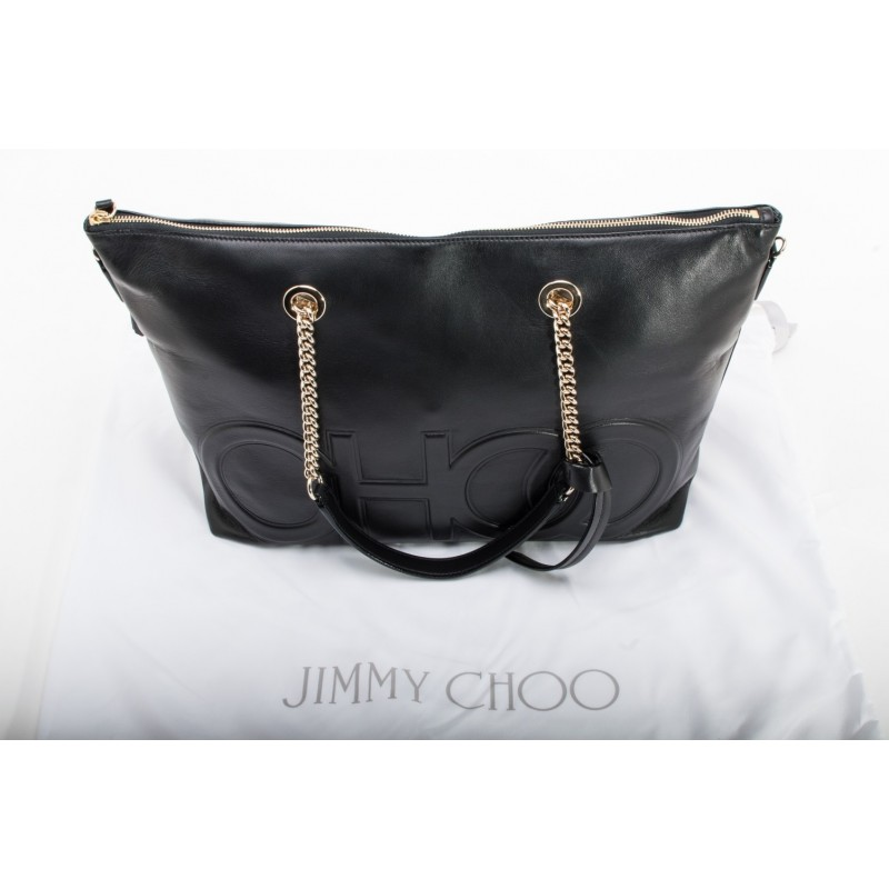 JIMMY CHOO -  Borsa Shopping in Pelle  ALLEGRA con Logo CHOO - Nero