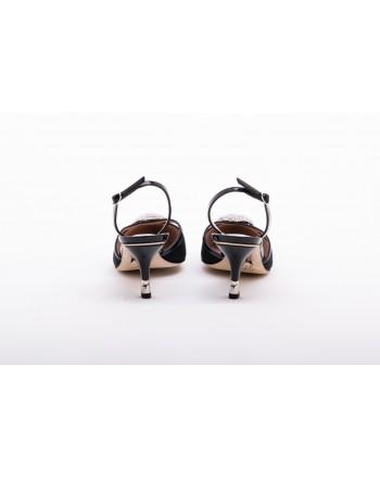 GIUSEPPE ZANOTTI - Scarpa Slingback con Decorazione Gioello - Nero