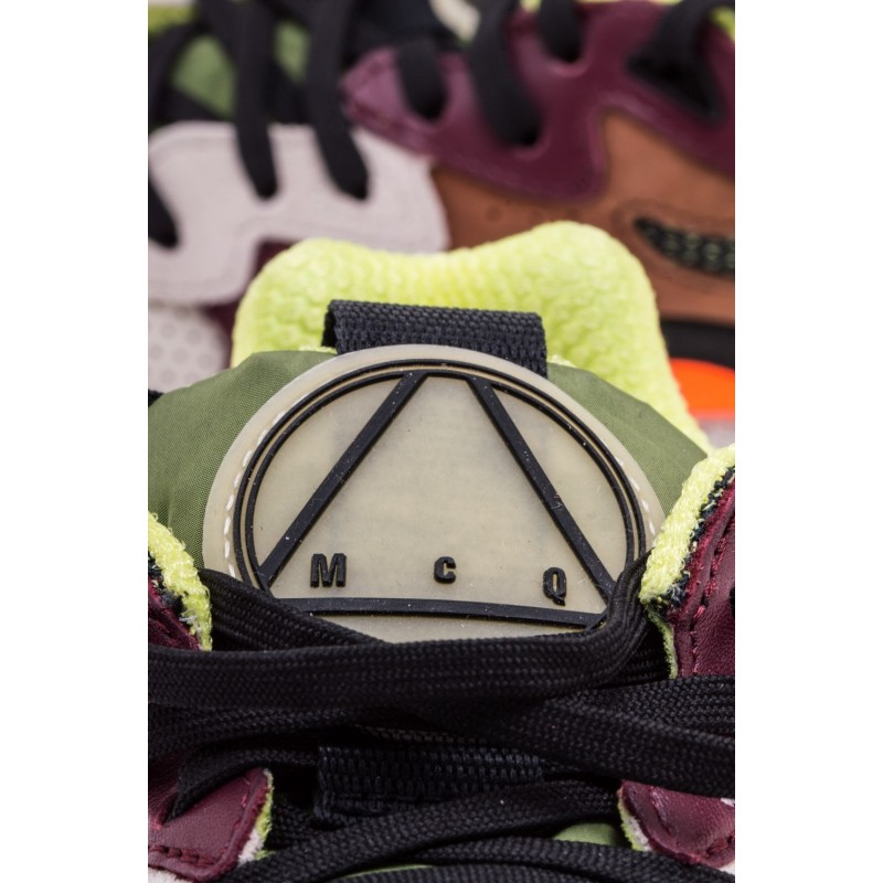MCQ BY ALEXANDER MCQUEEN - Suede Sneakers DAKU Patchwork- like - White/Black/Yellow