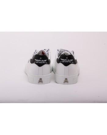PHILIPP PLEIN - Sneakers  in Pelle  Low Top MEGASTAR - Bianco