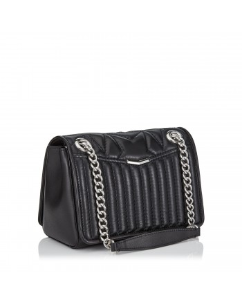 JIMMY CHOO - Matellassè Leather Shoulder Bag HELIA Small - Black