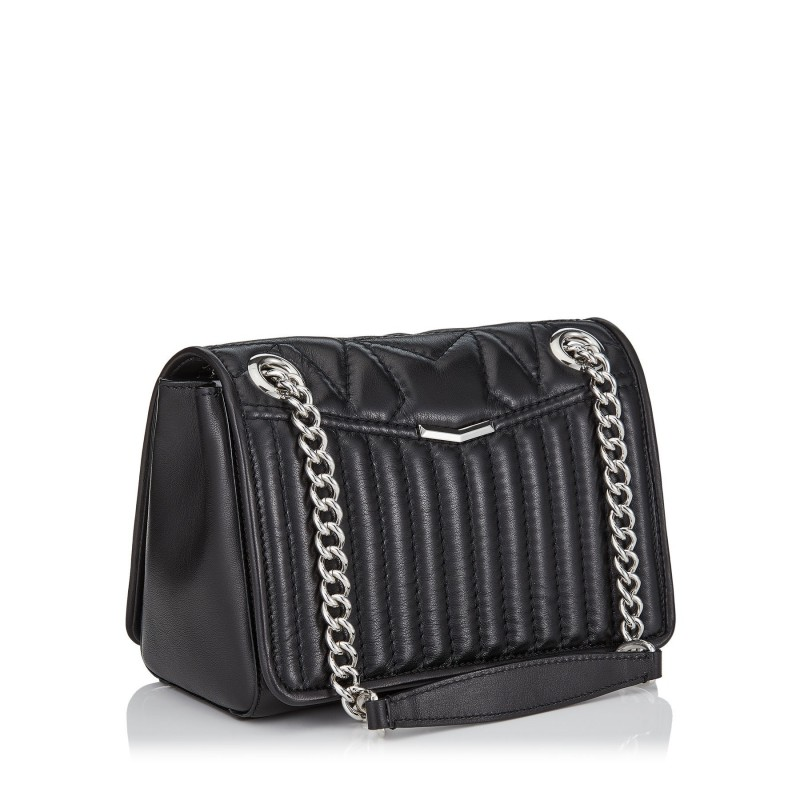 JIMMY CHOO - Matellassè Leather Shoulder Bag HELIA Small - Black
