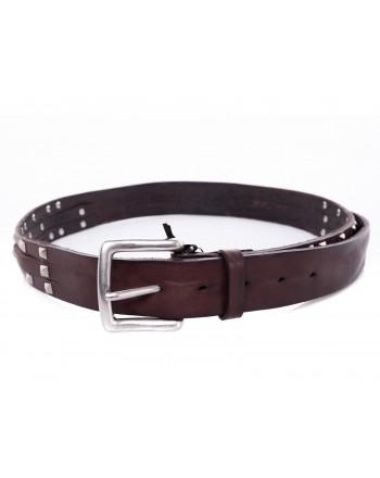BRIAN DALES - Cintura in pelle con dettaglio Borchie- Marrone