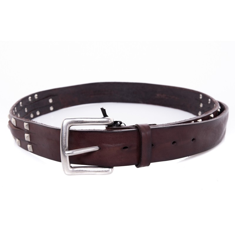 BRIAN DALES -Leather Belt with Studs- Brown