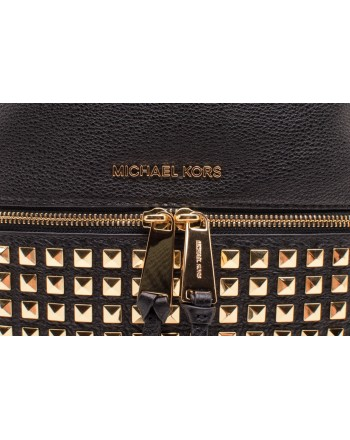 MICHAEL BY MICHAEL KORS -  RHEA STUDS Backpack with Golden Studs - Black