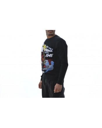 MCQ BY ALEXANDER MCQUEEN - T-Shirt in cotone manica lunga con stampa - Nero