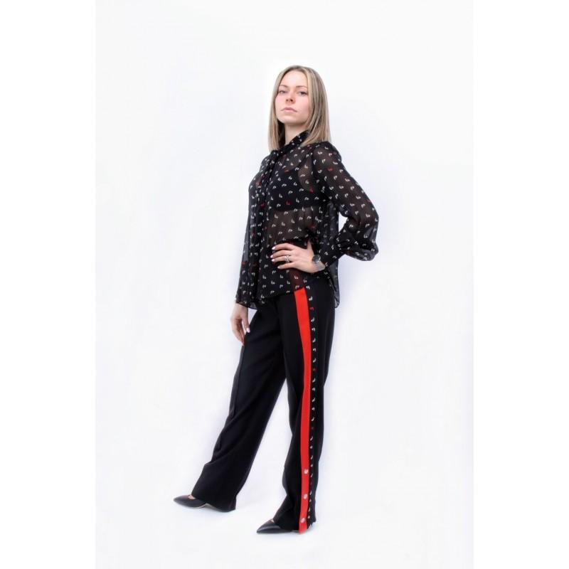 PINKO - Pantalone in Crepe Stile Jogging DEGNO - Nero/Rosso/Bianco