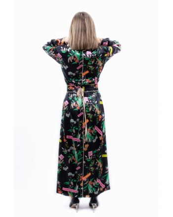 PINKO - Long Dress with Flower Generation Print - ROSALINDA - Black/Green