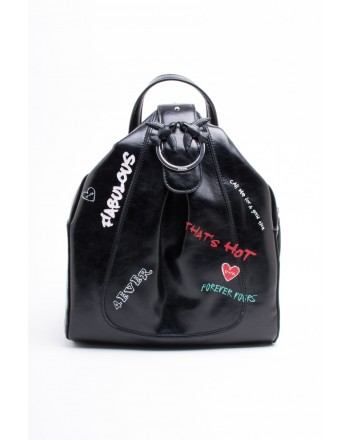 PINKO - Leather Backpack GUERNICA - Black