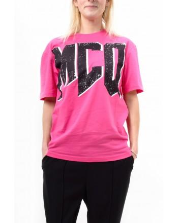 MCQ BY ALEXANDER MCQUEEN -  T-Shirt BOYFRIEND con Logo Maxi - Acid Pink