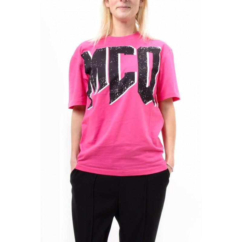MCQ BY ALEXANDER MCQUEEN -  Maxi Logo T-Shirt BOYFRIEND - Acid Pink