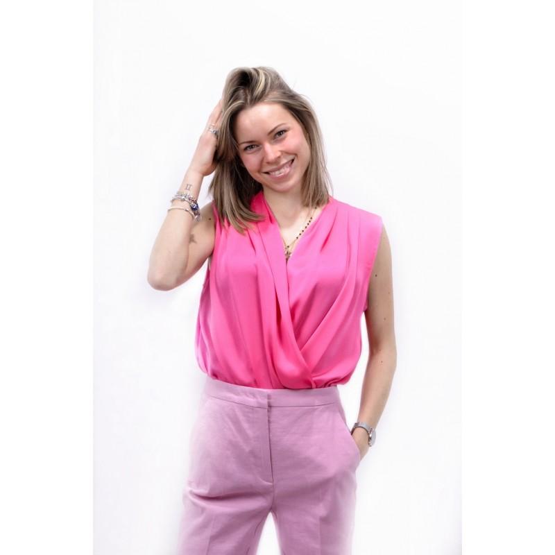 PINKO - Pleated Bodysuit INES - Fuchsia