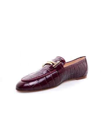 TOD'S - Leather Moccasin Print Crocodile -  Purple