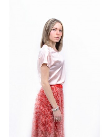PINKO -Pleated  DOCILE Skirt  with veiled Fabric - Pink/Red