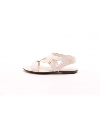 TOD'S - Leather and fabric sandals with studs - White