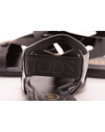 TOD'S - Sandalo in pelle e tessuto con borchie - Nero