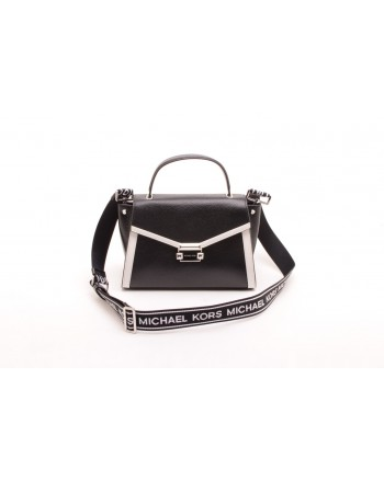 MICHAEL BY MICHAEL KORS - Borsa a mano Whitney media in pelle martellata - Nero/Bianco