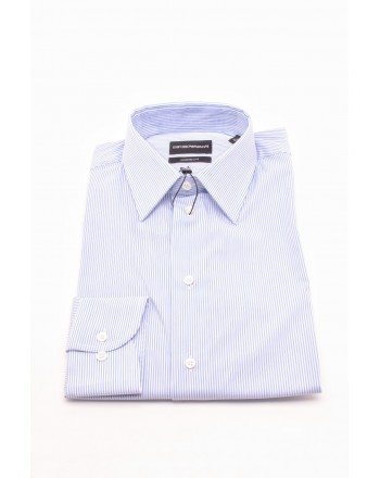 EMPORIO ARMANI - MODERN FIT Cotton Shirt - White/light blue