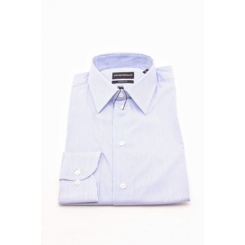 EMPORIO ARMANI - Camicia MODERN FIT in cotone - Bianco/Celeste