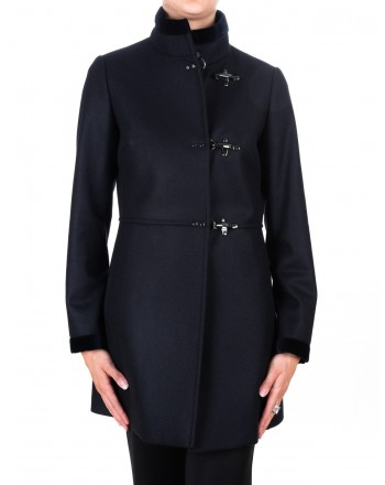 FAY - Wool and Cahmere VIRGINIA Coat with Frogs - Blue