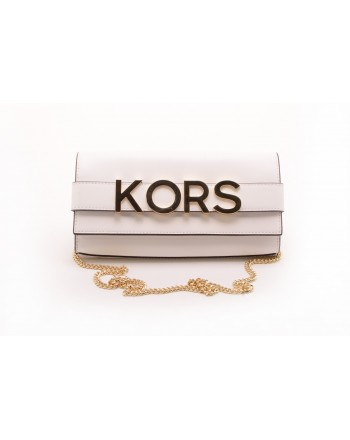 MICHAEL BY MICHAEL KORS -   Borsa Clutch BELLAMIE in pelle con LOGO - Bianco