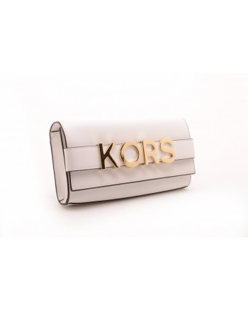 MICHAEL BY MICHAEL KORS -   Leather clutch BELLAMIE with Logo - White