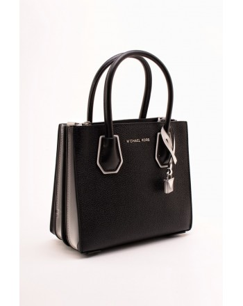 MICHAEL BY MICHAEL KORS - Borsa MERCER Media in Pelle con Tracolla Logo  - Nero/Bianco