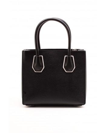 MICHAEL BY MICHAEL KORS - Medium MERCER Bag with Logo Strap  - Black/White