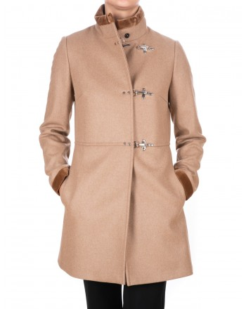 FAY - Wool and Cahmere VIRGINIA Coat with Frogs - Rope Brown