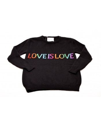 ALBERTA FERRETTI -  Wool and Cashmere Knit LOVE IS LOVE  - Black