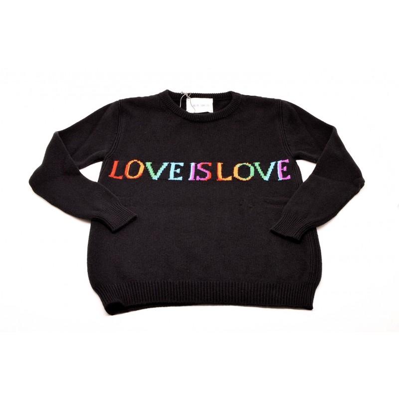 ALBERTA FERRETTI -  Maglia in Lana e Cashmere con scritta LOVE IS LOVE  - Nero