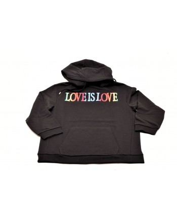 ALBERTA FERRETTI -  'LOVE IS LOVE' cotton sweatshirt - Black