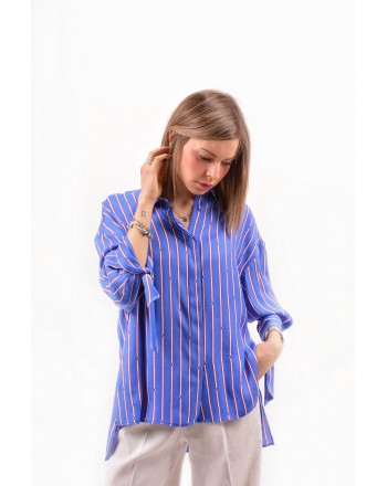 PINKO - Camicia FACILE in twill over - Cobalto/Rosso/Bianco