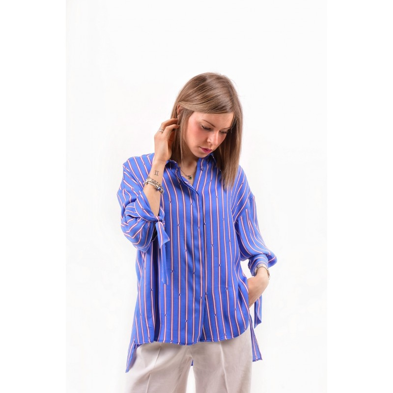 PINKO - FACILE shirt in twill over - Blue/Red/white