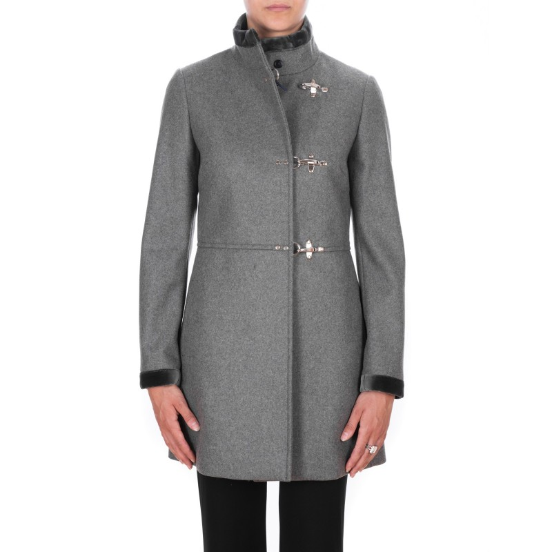 on sale 91ecc edb0f FAY - Wool and Cahmere VIRGINIA Coat with Frogs - Ematite Grey