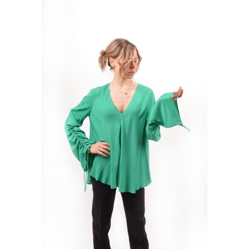 PINKO -  CECILIA blouse crepe de chine - Green