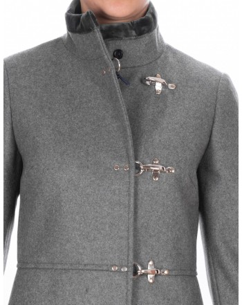 FAY - Wool and Cahmere VIRGINIA Coat with Frogs - Ematite Grey