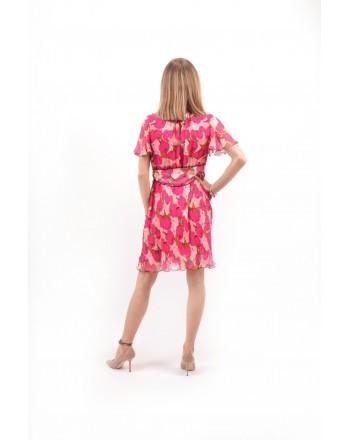 PINKO - Flower-Printed Creponne Dress DATABILE - Pink /Light Pink