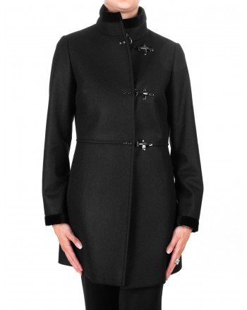 FAY - Wool and Cahmere VIRGINIA Coat with Frogs - Black