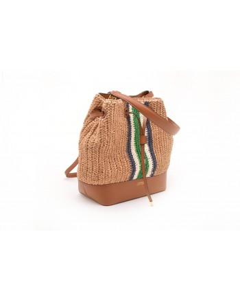 POLO RALPH LAUREN - Straw and Leather Bag  DERBY - Natural