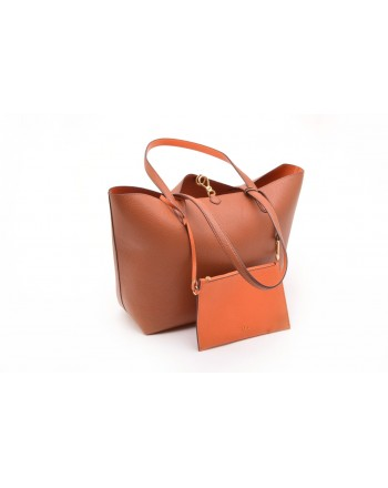 POLO RALPH LAUREN - Leather Tote Bag - Lauren Tan/Orange