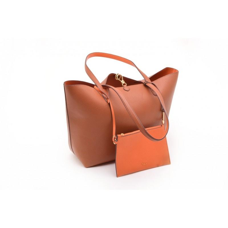 POLO RALPH LAUREN - Leather Tote Bag - Lauren Tan/Orange