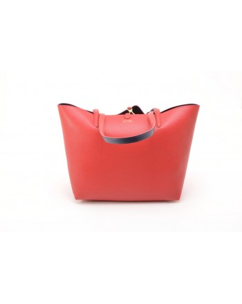 POLO RALPH LAUREN - Leather Tote Bag - Red/Navy