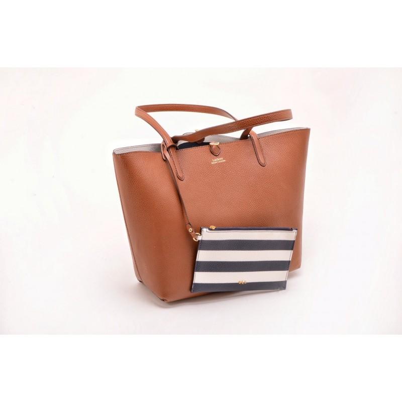 POLO RALPH LAUREN - Leather Tote Bag - Lauren Tan/Navy